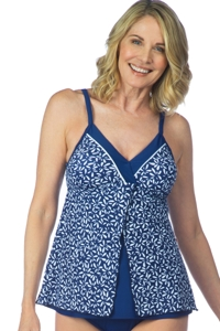 Maxine of Hollywood Navy Flutters Surplice Flyaway Tankini Top