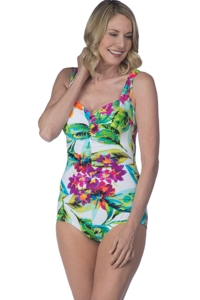 Maxine of Hollywood White Summer Bounty Shirred Front Girl Leg One Piece Swimsuit