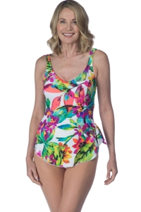 Maxine of Hollywood White Summer Bounty V-Neck Sarong One Piece Swimsuit
