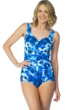 Maxine of Hollywood Floral Crush Shirred Front Girl Leg One Piece Swimsuit