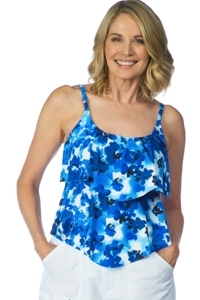 Maxine of Hollywood Floral Crush Tiered Tankini Top