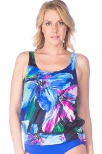 Maxine of Hollywood Bloom Blouson Tankini Top