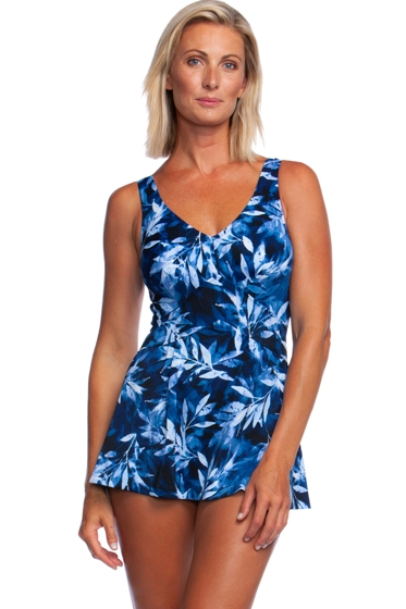 Maxine of Hollywood In the Navy V-Neck Empire Swimdress