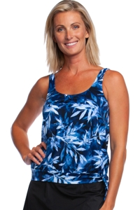 Maxine of Hollywood In the Navy Banded Scoop Neck Blouson Tankini Top