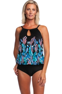 Maxine of Hollywood Prairie Dreams High Neck Keyhole Blouson One Piece Swimsuit