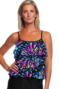 Maxine of Hollywood Sparkler Triple Tiered Tankini Top