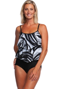 Maxine of Hollywood Tidal Wind Double Tiered One Piece Swimsuit