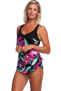 Maxine of Hollywood In Full Bloom Wide Strap Sarong One Piece Swimsuit