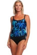 Maxine of Hollywood Bamboo Stripe Gold Foil Scoop Neck Fauxkini One Piece Swimsuit