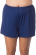 Maxine of Hollywood Plus Size Solid Navy Jogger Short Swim Bottom