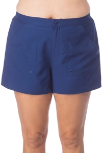 Maxine of Hollywood Plus Size Solid Navy Woven Board Short Swim Bottom