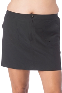Maxine of Hollywood Plus Size Solid Black Woven Board Skirt Swim Bottom
