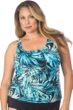 Maxine of Hollywood Plus Size Twilight Tropical Scoop Tankini Top