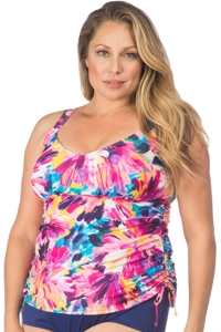 Maxine of Hollywood Plus Size Sunburst Side Shirred Underwire Tankini Top