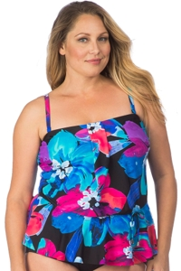 Maxine of Hollywood Plus Size Flourish Peplum Tankini Top