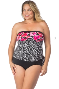 Maxine of Hollywood Plus Size Zebra Garden Faux Tankini Bandeau One Piece Swimsuit
