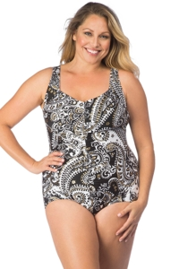 Maxine of Hollywood Gypsy Paisley Plus Size Shirred Front Girl Leg One Piece Swimsuit