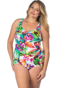 Maxine of Hollywood Plus Size Summer Bounty Front Girl Leg One Piece Swimsuit