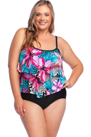 Maxine of Hollywood Serengeti Stripe Plus Size Double Tiered One Piece Swimsuit