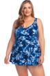 Maxine of Hollywood In the Navy Plus Size V-Neck Empire Swimdress