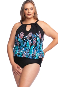 Maxine of Hollywood Prairie Dreams Plus Size High Neck Keyhole Blouson One Piece Swimsuit
