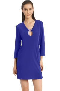 Jordan Taylor Quintessential Blue 3/4 Sleeve Keyhole Dress