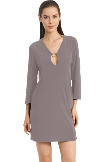Jordan Taylor Quintessential Taupe 3/4 Sleeve Keyhole Dress