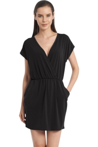 Jordan Taylor Quintessential Black V-Neck Surplice Dress