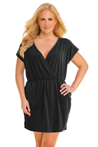 Jordan Taylor Black Plus Size V-Neck Surplice Dress