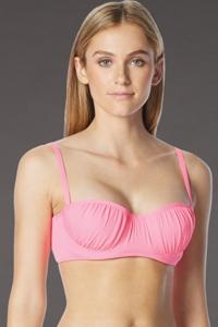 Coco Rave Pink D-Cup Underwire Shirred Bikini Top