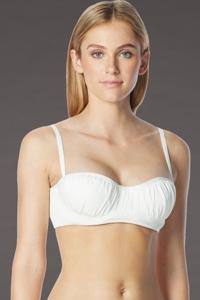 Coco Rave White DD-Cup Underwire Shirred Bikini Top