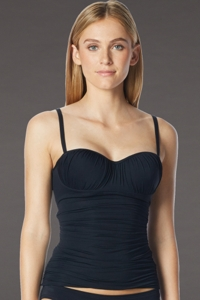 Coco Rave Black D-Cup Underwire Shirred Tankini Top