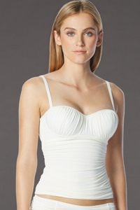 Coco Rave White D-Cup Underwire Shirred Tankini Top