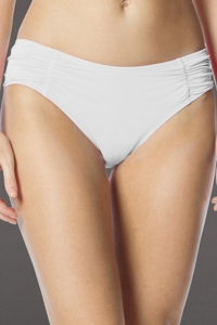 Coco Rave White Side Shirred Bikini Bottom