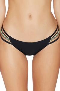 Reef Solid Black Strappy Bikini Bottom