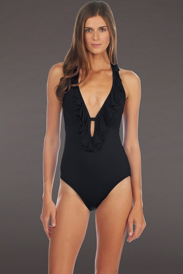 Kenneth Cole Reaction Black Ruffle-licious Plunge Halter One Piece Swimsuit
