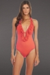 Kenneth Cole Reaction Coral Ruffle-licious Plunge Halter One Piece Swimsuit