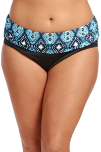 Kenneth Cole Reaction Coastal Escapade Plus Size Foldover Hipster Swim Bottom