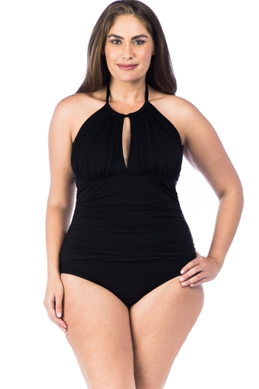 Kenneth Cole Solid Black Plus Size High Neck One Piece Swimsuit