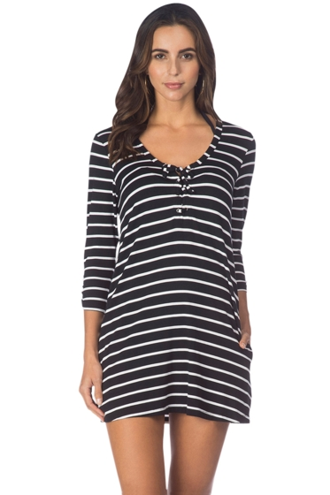 Kenneth Cole Black Skyline Stripe Lace Up Tunic with Pockets