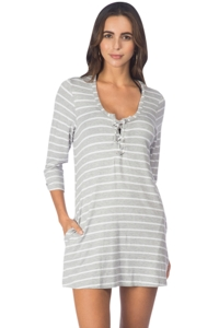 Kenneth Cole White Skyline Stripe Lace Up Tunic with Pockets