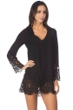 Kenneth Cole Black Scalloped Away V-Neck Tunic