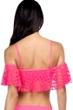 Kenneth Cole Pink Crochet Off Shoulder Bandeau Bikini Top