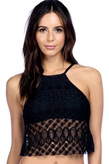 Kenneth Cole Black Crochet High Neck Cropped Bikini Top