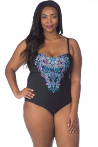 Kenneth Cole Dream Weaver Plus Size Bandeau One Piece Swimsuit