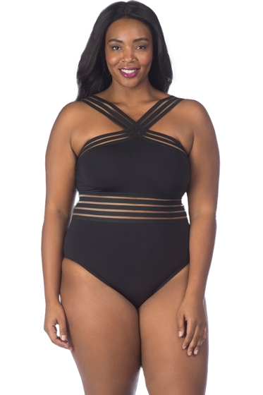 Kenneth Cole Stompin' Stilettos Plus Size High Neck One Piece Swimsuit