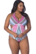 Kenneth Cole Riviera Stripe Plus Size Underwire Halter Peek-A-Boo One Piece Swimsuit