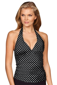 Kallure Polka Dot Shirred Halter Tankini Top