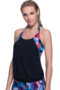 Profile Sport by Gottex Cosmos D-Cup Blouson T-Back Tankini Top with attached Swim Bra