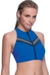 Profile Sport by Gottex Impact Blue High Neck Zipper Racerback Bikini Top